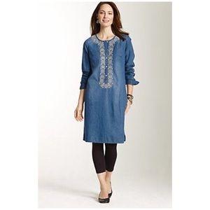 J. Jill • denim embroidered shirt dress